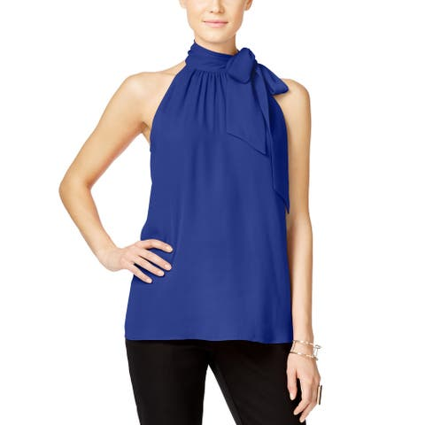 Inc International Concepts High Tie Neck Sleeveless Top (Blue, 6)