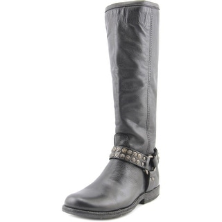 Frye Phillip Studded Harness Round Toe Leather Knee High Boot