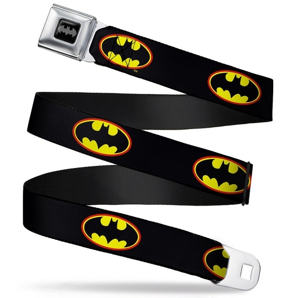 Batman Black Silver Batman Shield Black Fluorescent Red Yellow Webbing Seatbelt Belt