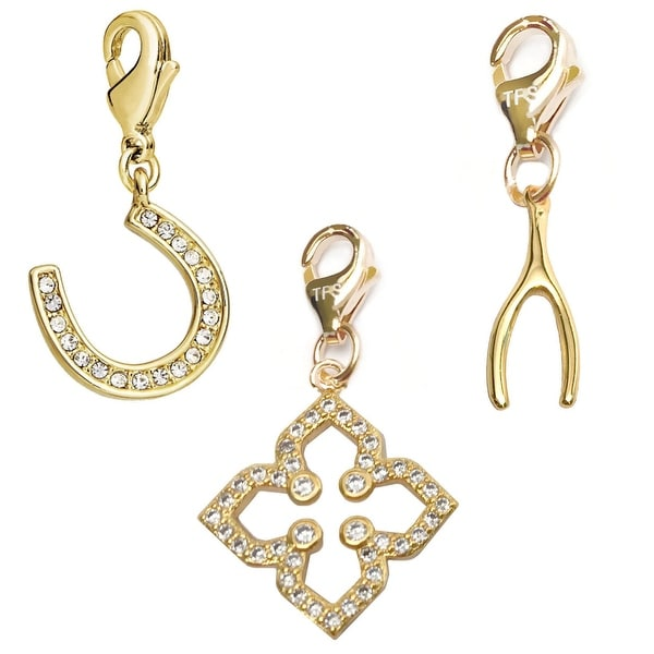 Julieta Jewelry Clover, Horseshoe, Wishbone 14k Gold Over Sterling Silver Clip-On Charm Set