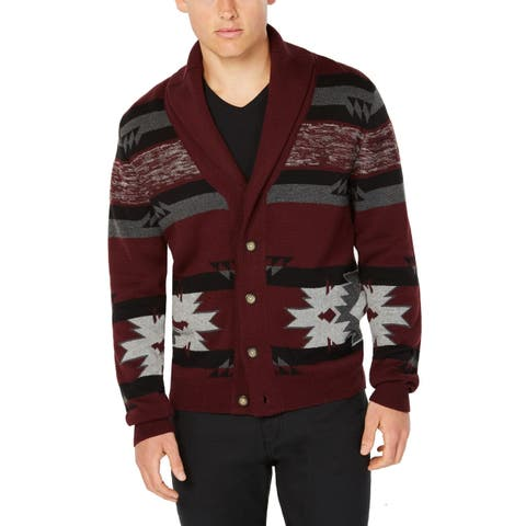 American Rag Mens Sweaters Red Large L Button-Front Fair Isle Cardigan