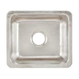 Signature Copper BDC-171508BRN Prato Drop In / Undermount Handcrafted Kitchen Hammered Nickel Prep Sink
