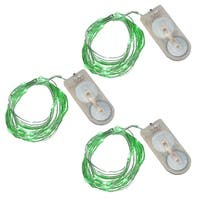 """Set of 3 LED Green Micro Rice String Lights with 20 Lights 76"""""""