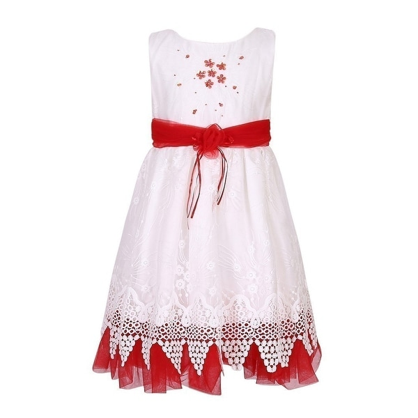 32cc6c48d Shop Richie House Little Girls Red White Flower Sash Bridal Party Dress 4-7  - Free Shipping On Orders Over $45 - Overstock - 18167350