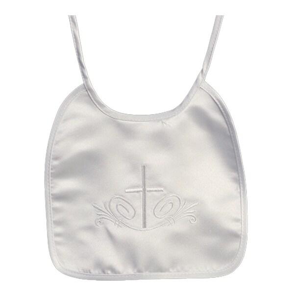 Baby Girls Boys White Embroidered Cross Satin Christening Baptism Bib - One size