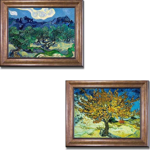 Olive Trees & Mulberry Tree by Vincent Van Gogh 2-pc Bronze-Gold Framed Canvas Art Set (16 in x 20 in Each Framed Size)