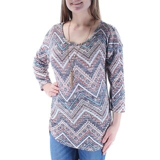Womens Brown Printed Long Sleeve Jewel Neck Casual Top Size M