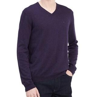 Calvin Klein NEW Purple Amethyst Mens Size XL V-Neck Wool Knit Sweater