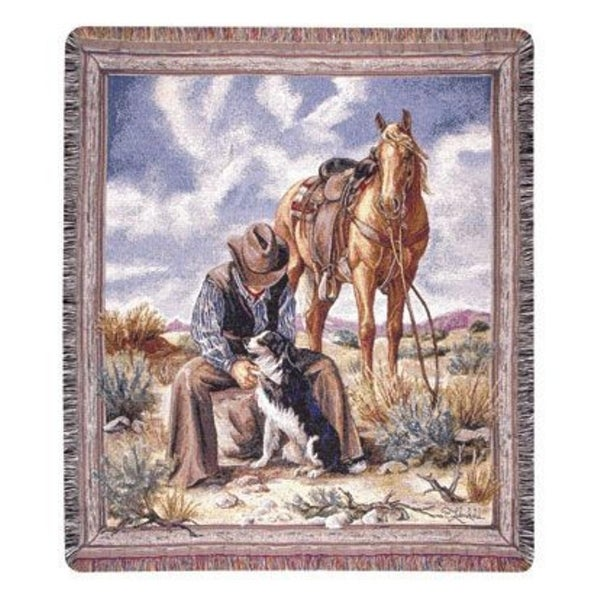 "Cowboy Relaxing In Desert With His Horse & Dogs Tapestry Throw Blanket 50"" x 60"""