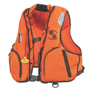 """Link to 17"""" Orange and Black Industrial Inflatable Vest Small-Medium Similar Items in Hunting Apparel & Footwear"""