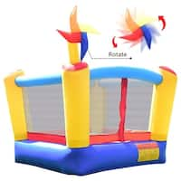 Gymax Kids Moonwalk Bounce House Inflatable Castle Jumper Rotating Windmill - as pic