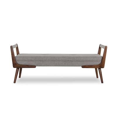Mid Century Modern Poppy Gray Bench