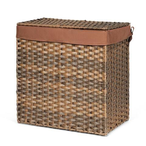 Hand-woven Foldable Rattan Laundry Basket