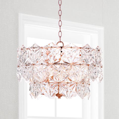 "Safavieh Lighting Sia Adjustable 4-light Copper Crystal Pendant - 19""x19""x13-85"""