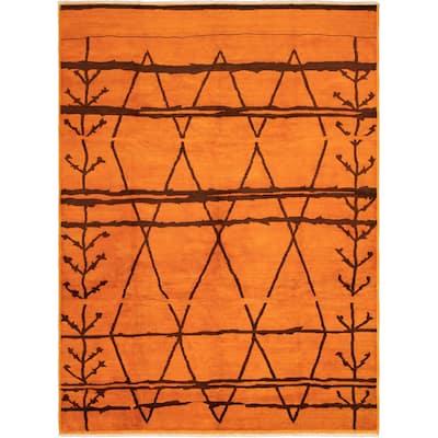 ECARPETGALLERY Hand-knotted Vibrance Orange Wool Rug - 10'0 x 13'3