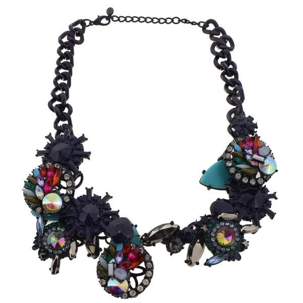 Zara Womens Cluster Necklace Geometric Rhinestone - navy
