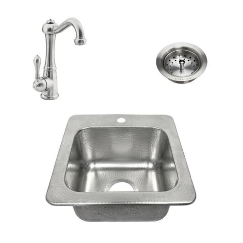 Zelda All-in-One Drop-In Crafted Stainless Steel 15 in. Bar Sink with Faucet, Brushed