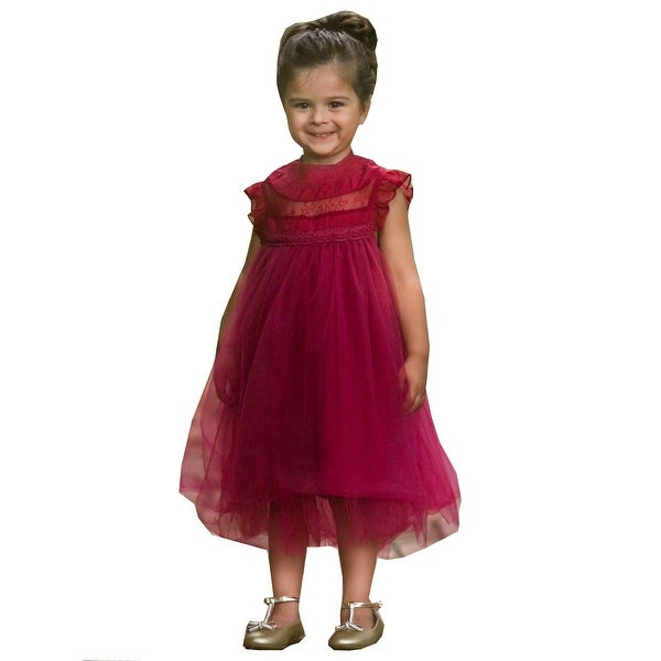 68fbccd8d8b4 Shop Little Girls Sangria Wine Lace Tulle Smock Magnolia Christmas Dress -  Free Shipping On Orders Over $45 - Overstock - 25542908