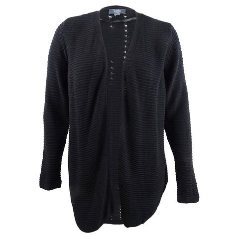 Belle by Belldini Plus Size Ribbed-Knit Cardigan - Black