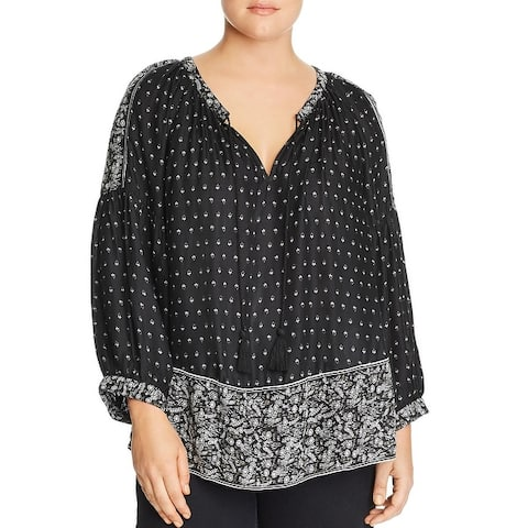 Lucky Brand Womens Plus Peasant Top Floral Long Sleeves