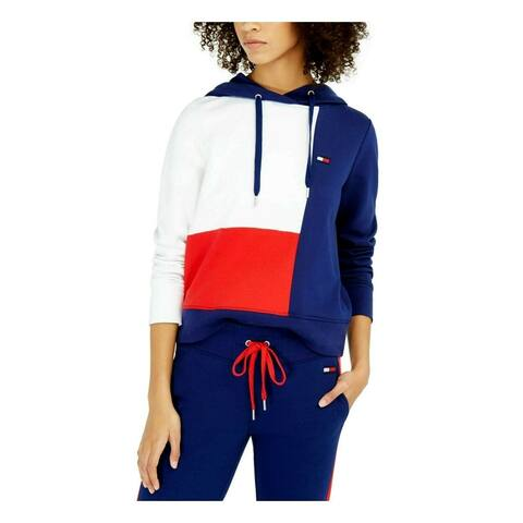 Tommy Hilfiger Women's Sport Colorblocked Hoodie Blue Size Small