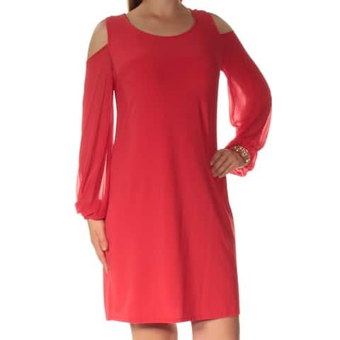 MSK Womens Red Long Sleeve Jewel Neck Mini Shift Dress Size 8