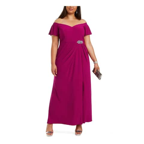 ALEX EVENINGS Purple Short Sleeve Maxi Sheath Dress Size 14W