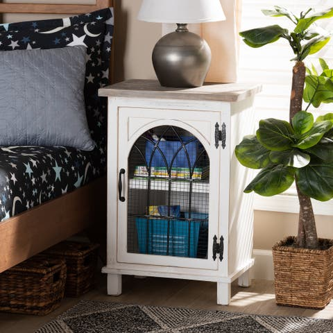 Faron Traditional Farmhouse White and Oak Brown Wood 1-Door Nightstand