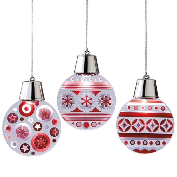 "4.75"" Battery Operated LED Lighted Red and White Flashing Snowflake & Polka Dots Christmas Ornament"