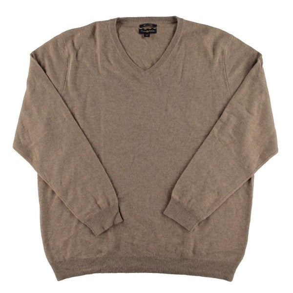 Club Room New Natural Heather Brown Mens Size Xl Solid V Neck Sweater Free Shipping Today 19567330