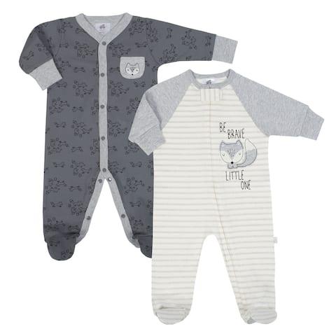 Just Born Unisex Baby Grey Fox 2-Pack Organic Sleep 'N Play Pajamas