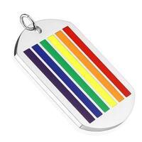Rainbow Striped Enamel Stainless Steel Pendant (31.5 mm Width)