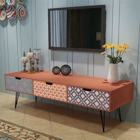 Modern Living TV Stand with 3 Drawers,Brown storage Cabinet