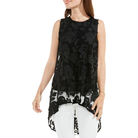 Vince Camuto Womens Havana Brights Blouse Sheer Lace Overlay
