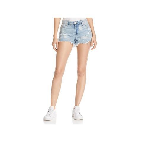 Blank NYC Womens Hiker Denim Shorts Distressed Cutoff