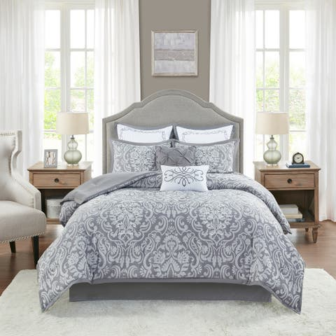 Madison Park Audrey Gray 8 Piece Jacquard Comforter Set