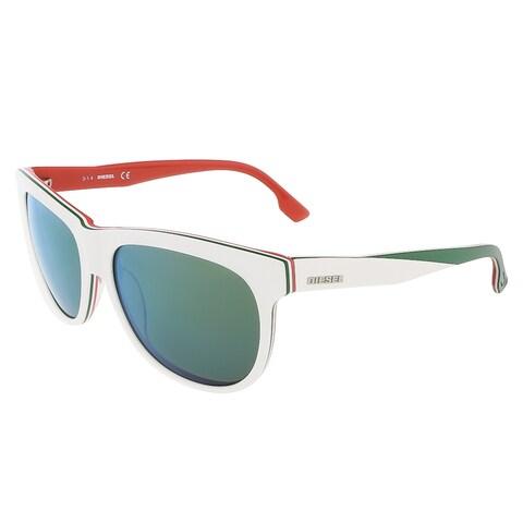 Diesel DL0112/S 24Q White/Orange&Green Rectangle sunglasses - 56-16-140