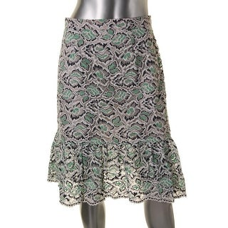 French Connection Womens Lace Mid-Calf Flounce Skirt