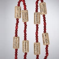 4' Tuscan Winery Beaded Wine Cork Novelty Christmas Garland - RED
