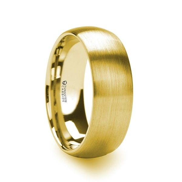 THORSTEN - MILLER Gold Plated Tungsten Domed Ring with Brushed Finish