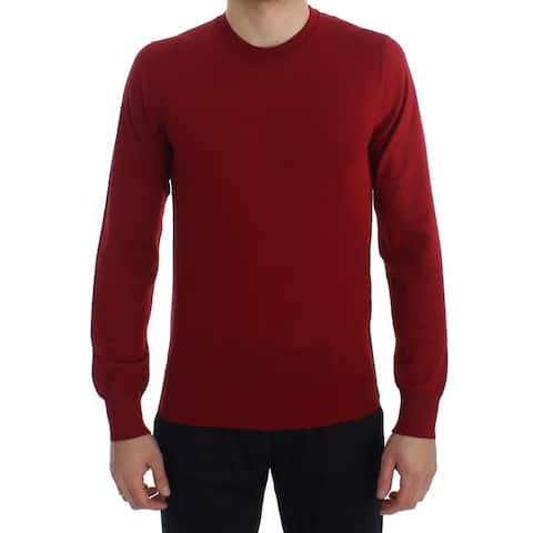 Dolce & Gabbana Red Cashmere Crew-neck Pullover Men's Sweater