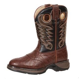 "Durango Western Boots Boys 8"" Rebel Saddle Pull Chestnut Black BT200"