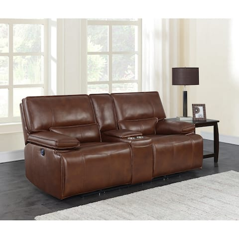 Southwick Saddle Brown Pillow Top Arm Power Loveseat with Console