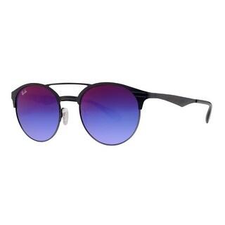 Ray Ban RB3545 186/B1 51mm Black/Blue Violet Gradient Mirror Round Sunglasses - matte black/black - 51mm-20mm-145mm