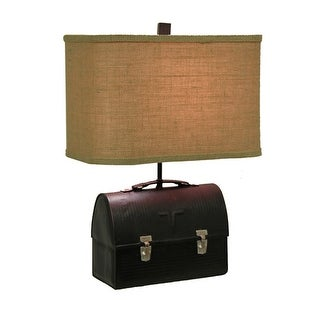 Retro 50's Lunch Box Table Lamp With Rectangular Burlap Shade - Black