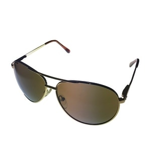 Kenneth Cole Reaction Mens Sunglass Brown Metal Aviator, Brown Lens KC1184 32E - Gold - Medium