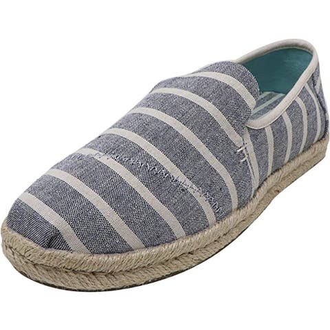 TOMS Deconstructed Alpargata Rope Espadrille, Navy Cabana Stripes, 5 B(M) US