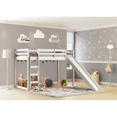 Themes and Rooms Twin Solid Wood Low Loft with Slide