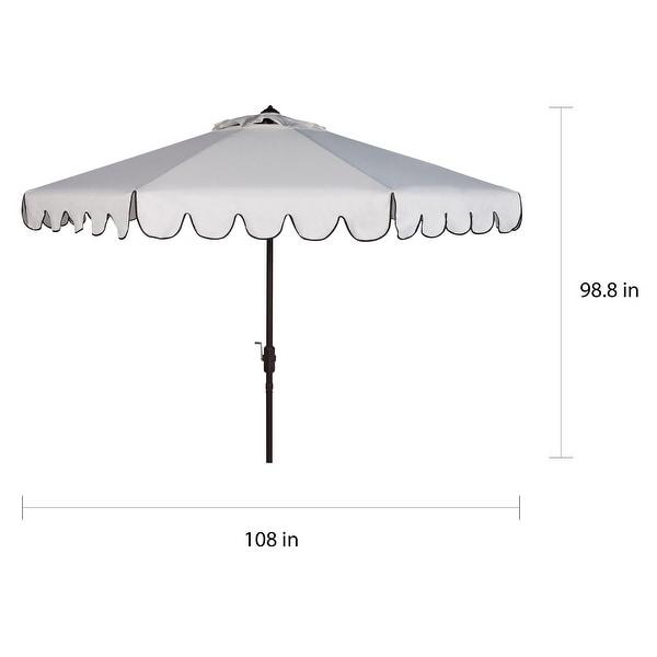 SAFAVIEH Venice Single-scallop 8.5-ft. Crank White/Black Outdoor Umbrella