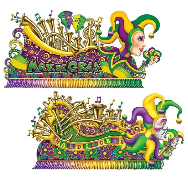 Club Pack of 24 Colorful Mardi-Gras Jester Float Wall Decorations ...